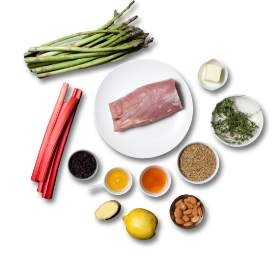 Pork Tenderloin with Rhubarb Chutney & Asparagus ingredients
