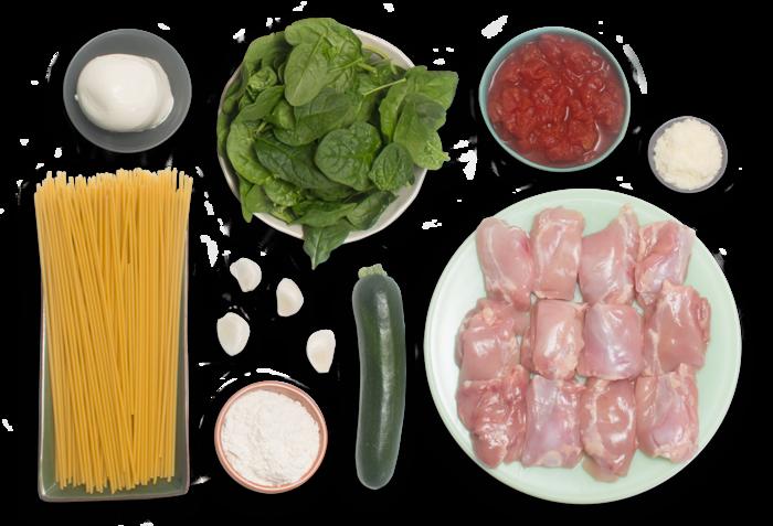 Chicken Parmesan & Bucatini Pasta with Fresh Mozzarella & Zucchini ingredients