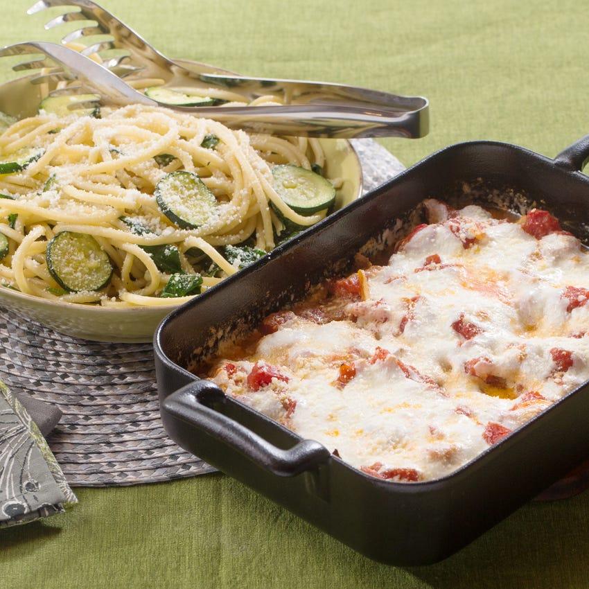 Chicken Parmesan & Bucatini Pasta with Fresh Mozzarella & Zucchini