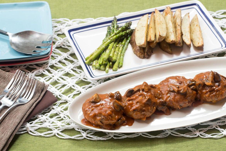 Salisbury Steaks with Roasted Asparagus & Potato Wedges