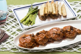 Salisbury Steaks with Roasted Asparagus & Potato Wedges