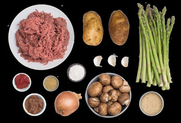 Salisbury Steaks with Roasted Asparagus & Potato Wedges ingredients