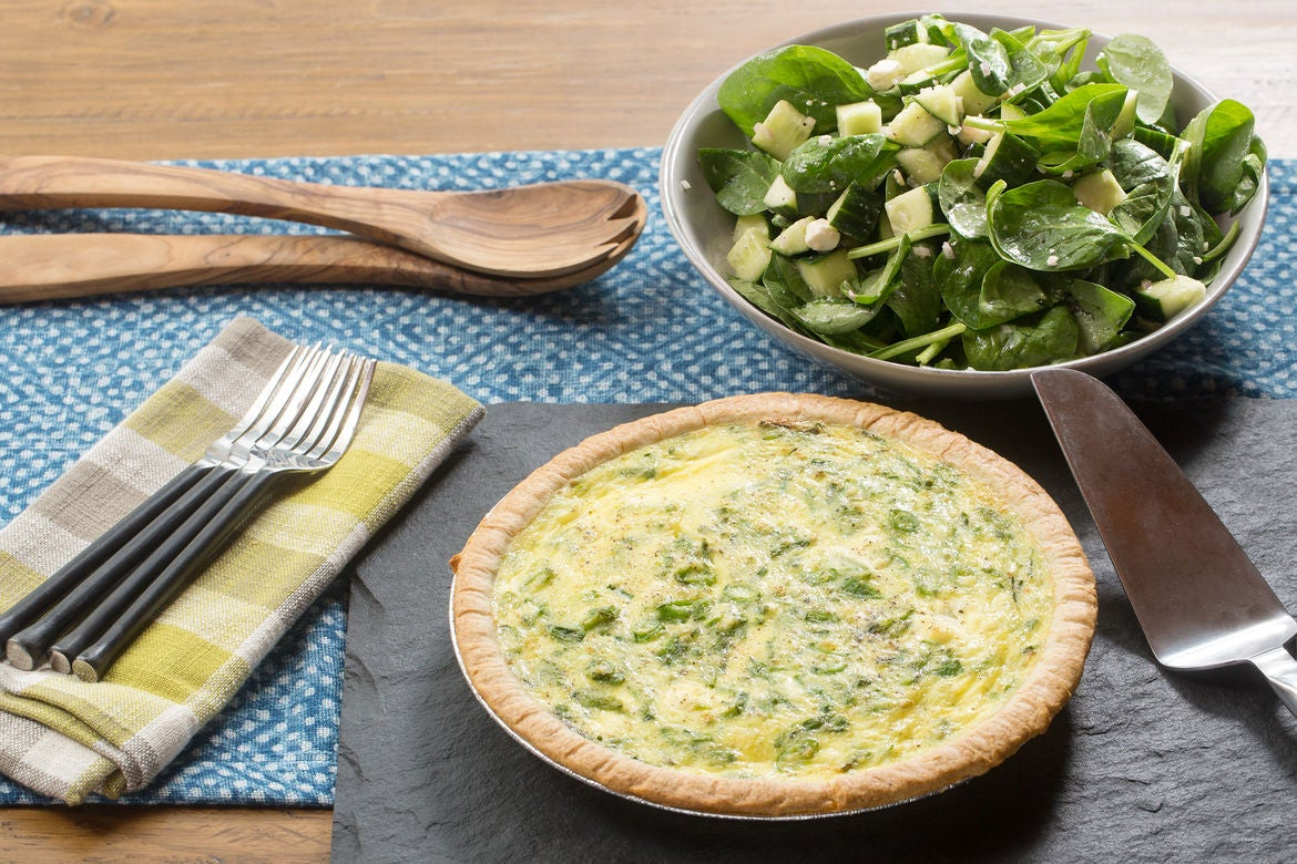 Sugar Snap Pea & Farmer's Cheese Quiche with Spinach, Feta & Cucumber Salad