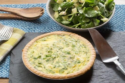 Sugar Snap Pea & Farmer's Cheese Quiche with Spinach, Feta & Cucumber Salad