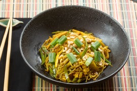 Singapore Curry Noodles with Snow Peas & Yellow Squash