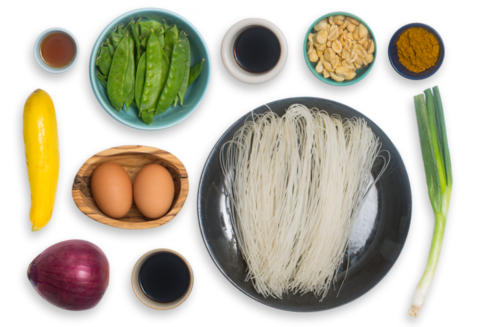 Singapore Curry Noodles with Snow Peas & Yellow Squash ingredients