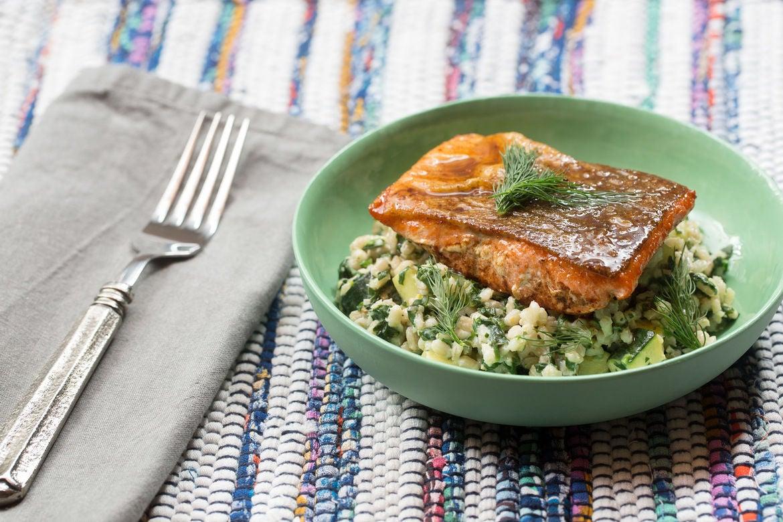 Lemon-Butter Salmon with Creamy Barley & Zucchini Salad
