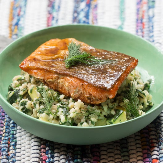 Lemon-Butter Salmon with Creamy Barley & Zucchini Salad