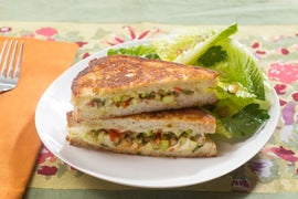 Muffuletta-Style Grilled Cheese Sandwiches with Baby Romaine & Pistachio Salad