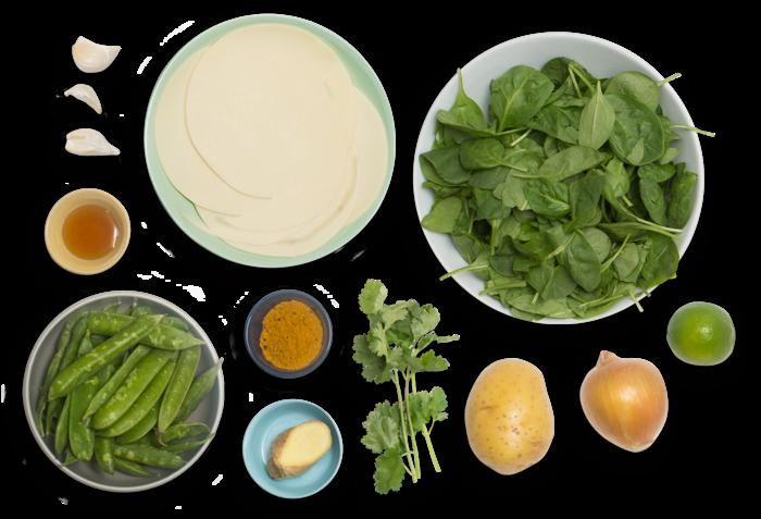 Potato & English Pea Samosas with Saag & Cilantro Chutney ingredients