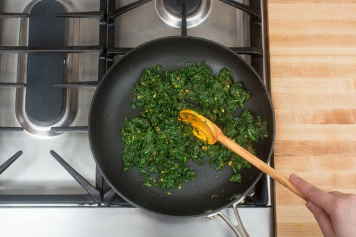 Finish the spinach & plate your dish: