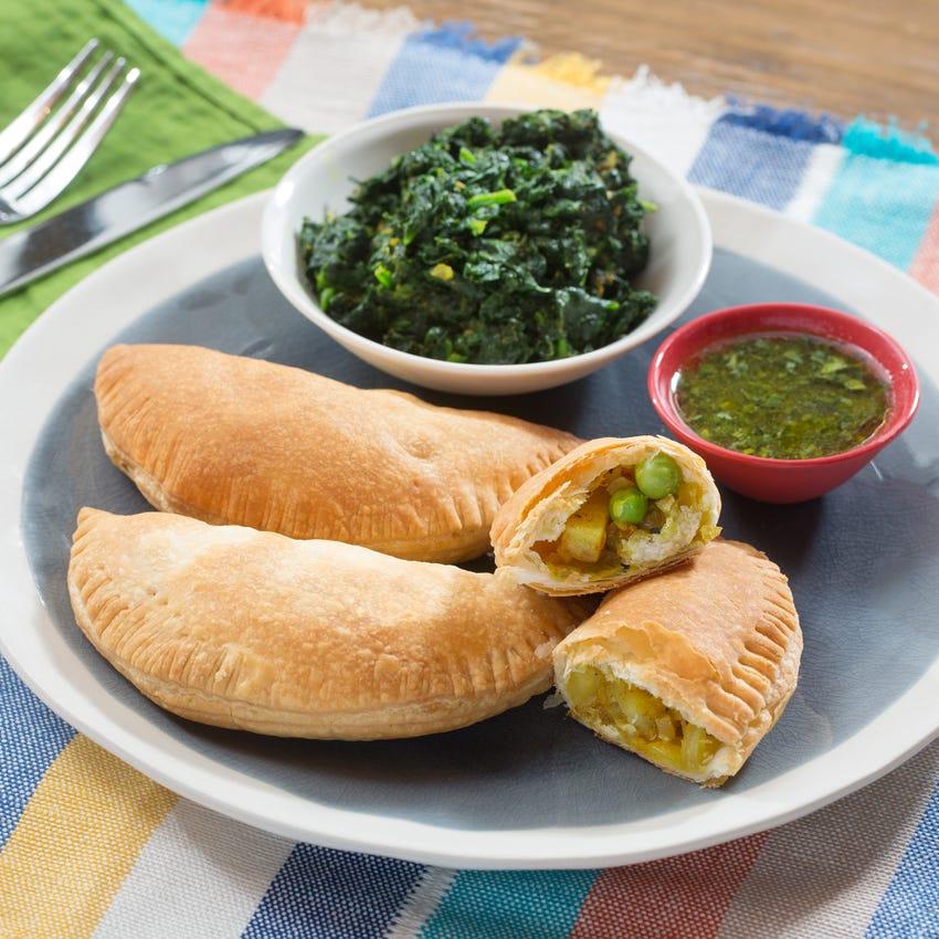 Potato & English Pea Samosas with Saag & Cilantro Chutney