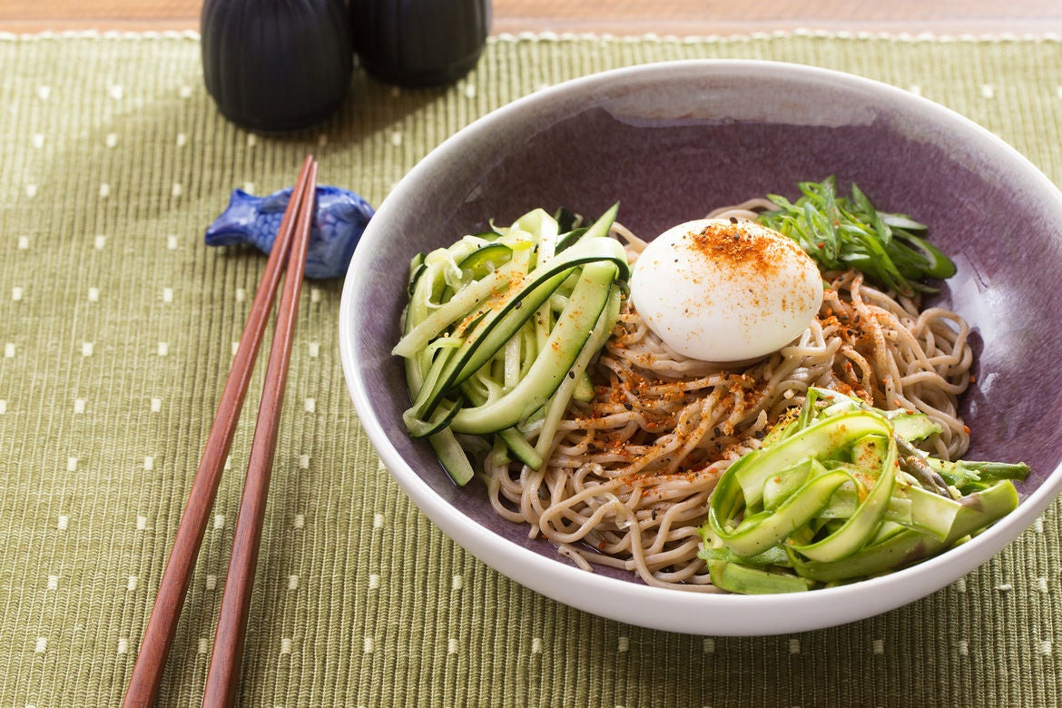 Recipe: Fresh Soba Noodle Salad with Asparagus, Cucumber & Soft-Boiled ...