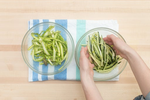Dress the asparagus & cucumber:
