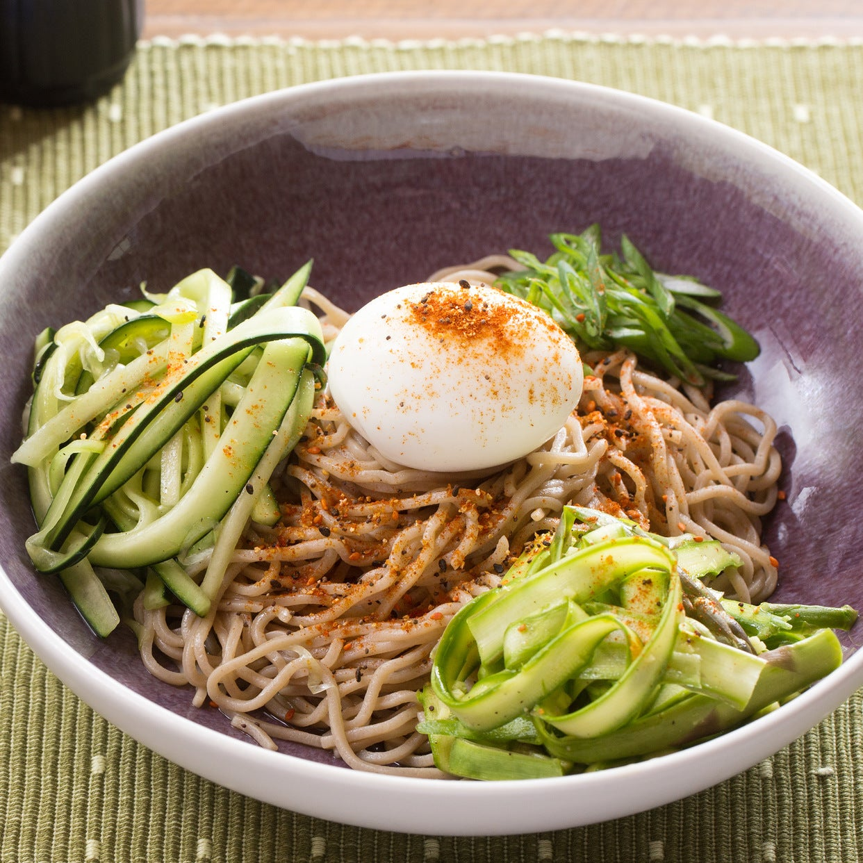 Fresh Soba Noodle Salad with Asparagus, Cucumber & Soft-Boiled Eggs