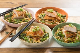 Seared Chicken & Miso Udon Noodles with Sautéed Sugar Snap Peas & Pea Tips