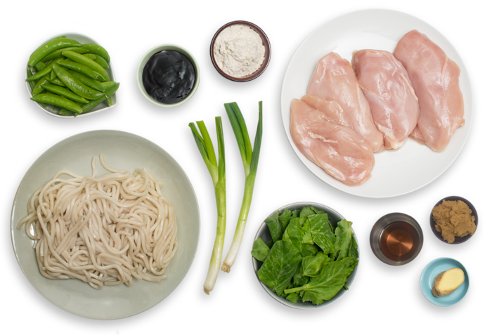 Seared Chicken & Miso Udon Noodles with Sautéed Sugar Snap Peas & Pea Tips   ingredients