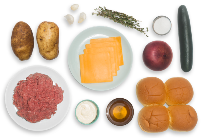 Cheddar Cheeseburgers with Quick Pickles & Thyme-Roasted Oven Fries ingredients