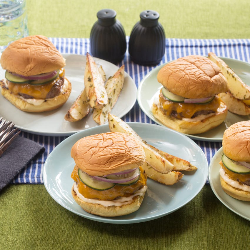 Cheddar Cheeseburgers with Quick Pickles & Thyme-Roasted Oven Fries