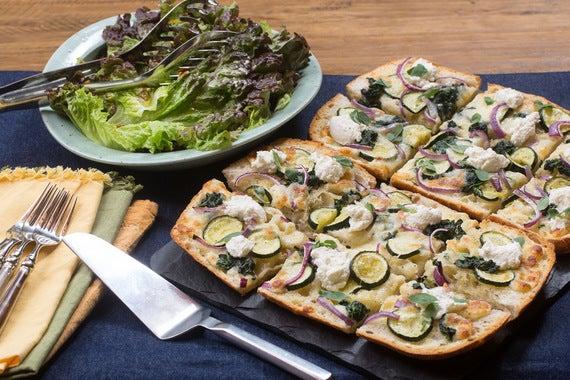 Recipe: White Focaccia Pizza with Ricotta, Zucchini & Red Leaf Lettuce ...