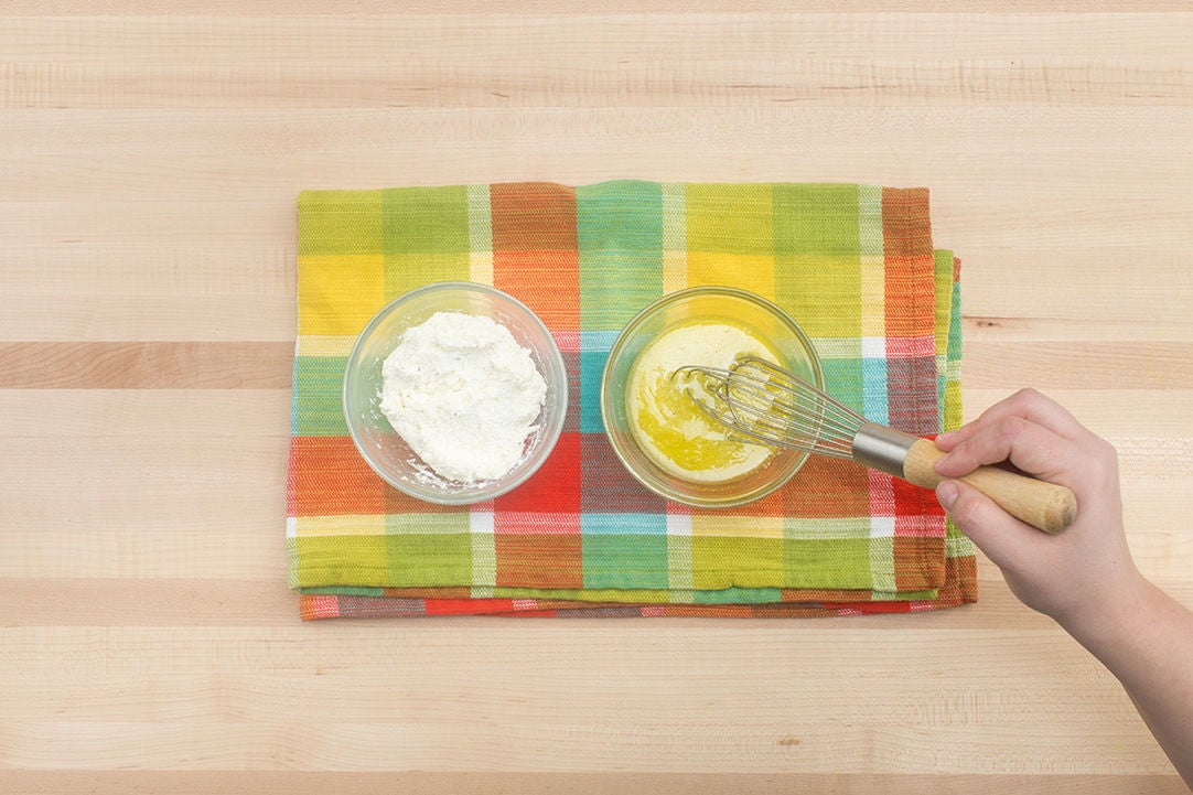 Season the ricotta & make the dressing: