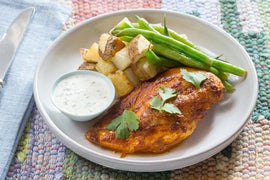Peruvian Roast Chicken & Potatoes with Green Beans & Creamy Jalapeño Sauce