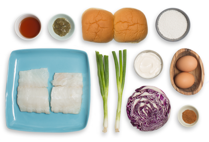 Maryland-Style Cod Cake Sandwiches with Tartar Sauce & Red Cabbage Slaw ingredients
