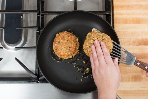 Cook the cod cakes: