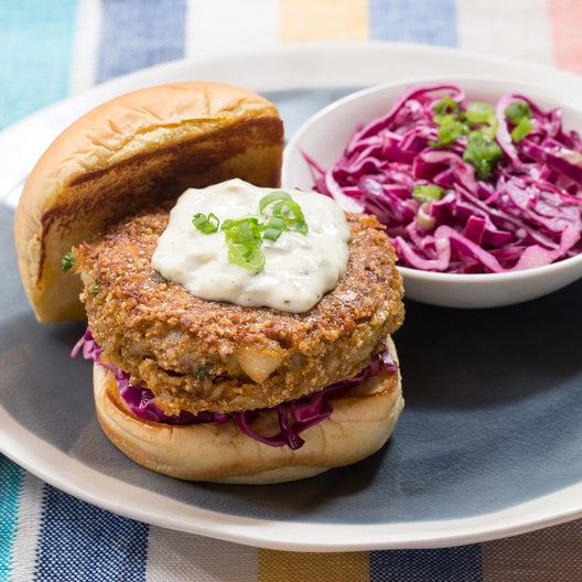 Maryland-Style Cod Cake Sandwiches with Tartar Sauce & Red Cabbage Slaw