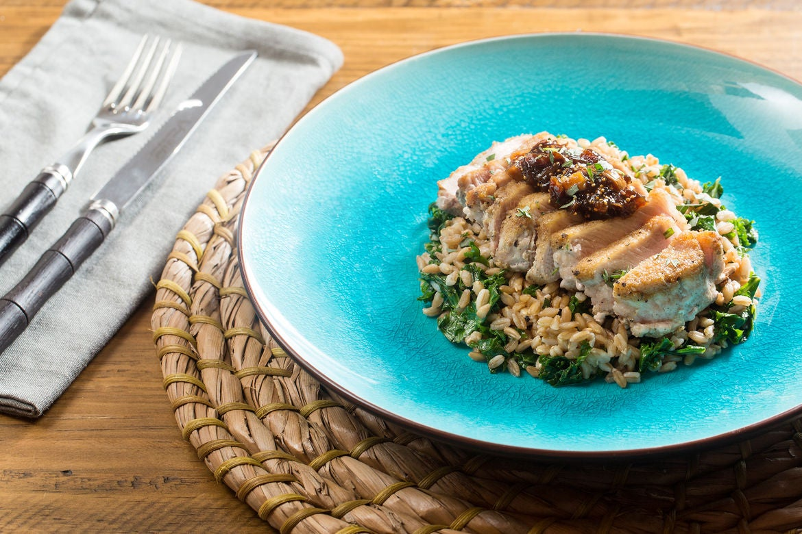 Seared Pork Chops & Fig Compote with Sautéed Kale & Farro Salad