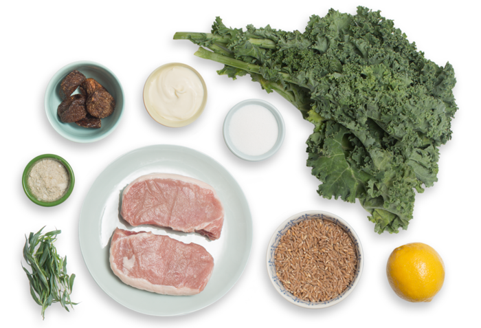Seared Pork Chops & Fig Compote with Sautéed Kale & Farro Salad ingredients
