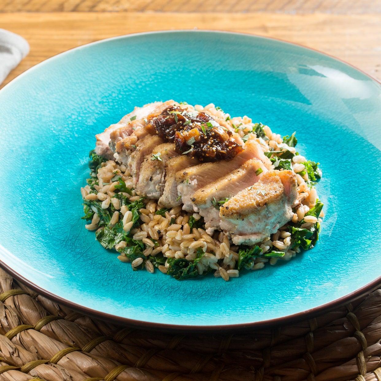 Seared Pork Chops & Fig Compote with Sautéed Kale & Farro Salad