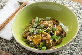 Spicy Korean Rice Cakes with Snow Peas & Pea Shoots