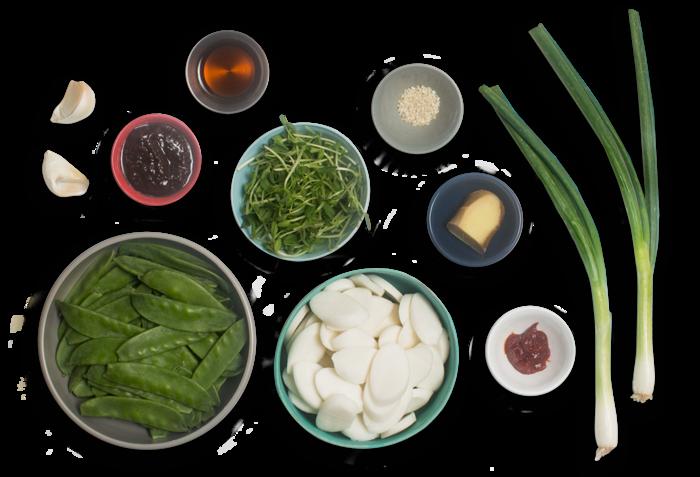 Spicy Korean Rice Cakes with Snow Peas & Pea Shoots ingredients
