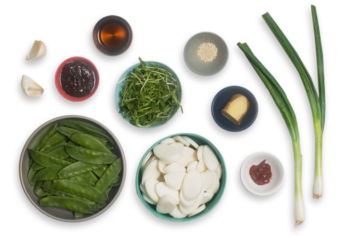 Spicy Korean Rice Cakes with Snow Peas & Pea Shoots ingredients