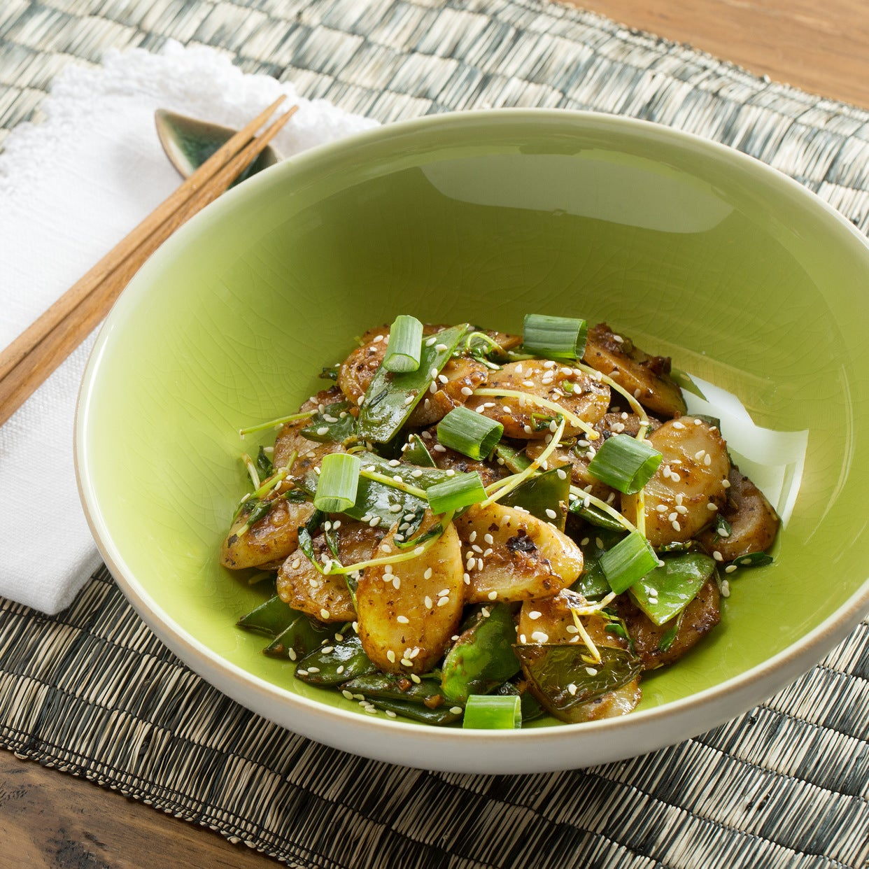 Spicy Korean Rice Cakes with Snow Peas & Pea Shoots