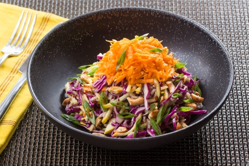 Miso-Sesame Shredded Salad with Red Rice & Gingered Carrots