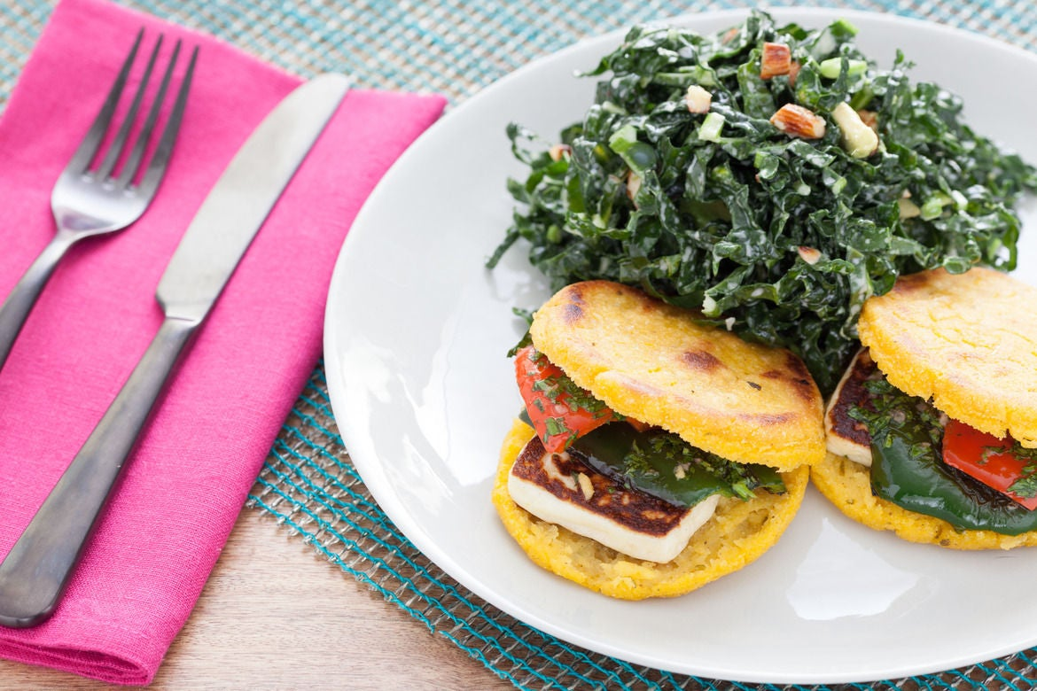 Queso & Pepper Arepas with Kale-Avocado Salad & Chimichurri
