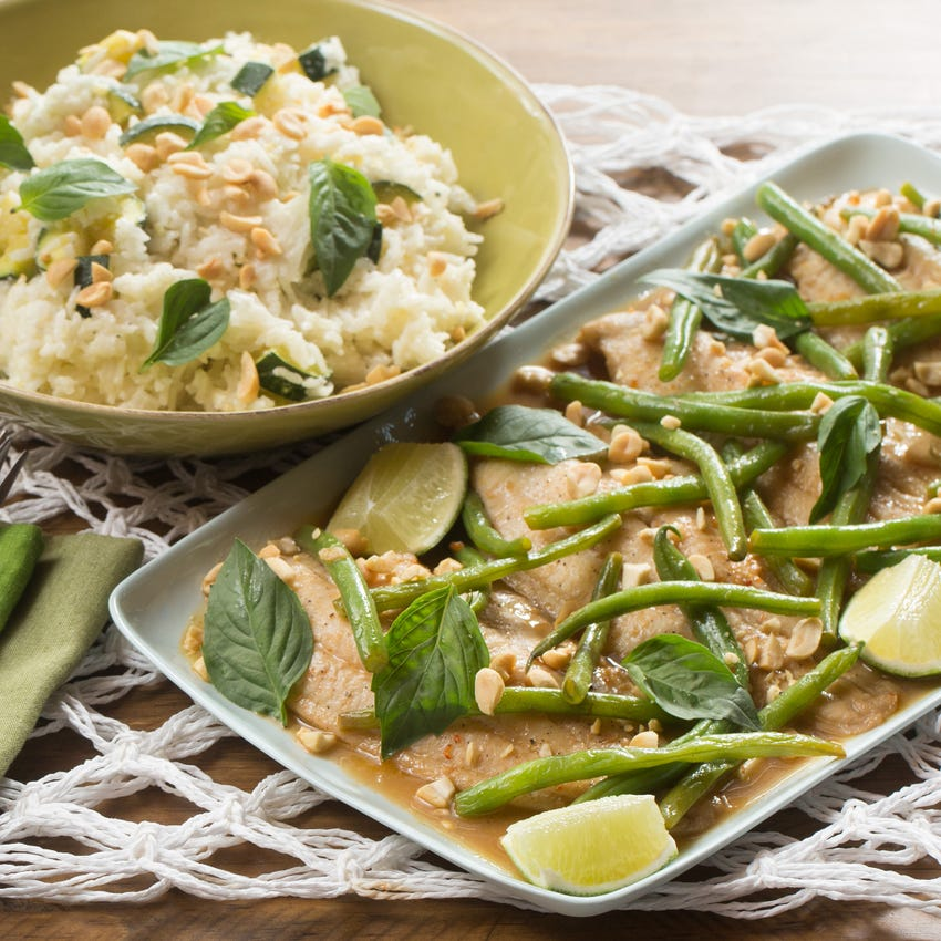 Sweet Chili-Ponzu Catfish & Green Beans with Coconut-Ginger Rice