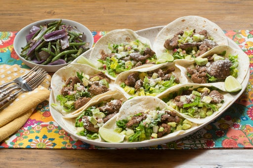 Beef Tacos & Roasted Green Beans with Cucumber-Avocado Salsa