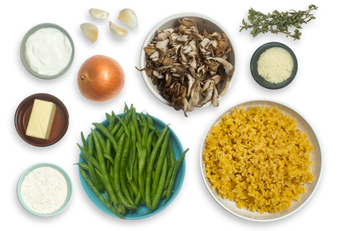 Creamy Mafalda Pasta with Green Beans, Maitake Mushrooms & Crispy Onion Rings ingredients