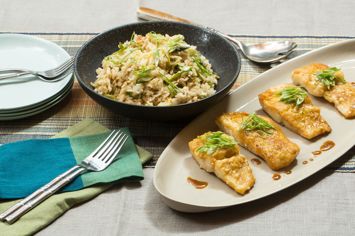 Crispy Cod Teriyaki with Shiitake Fried Rice