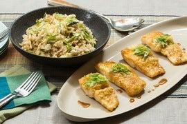 Crispy Cod Teriyaki with Shiitake Fried Rice