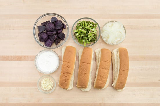 Prepare the ingredients & make the cheese spread: