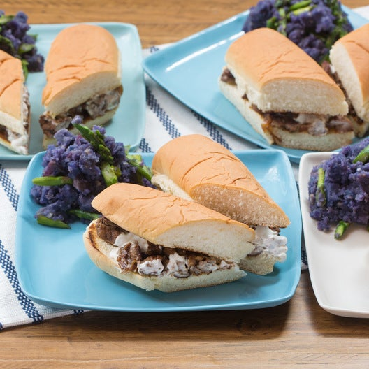 Seared Beef & Goat Cheese Sandwiches with Mashed Purple Potatoes & Asparagus