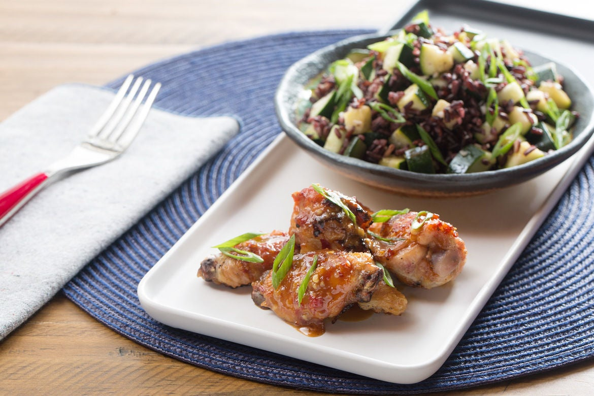 Spicy Miso-Glazed Chicken Wings with Purple Rice & Zucchini Salad