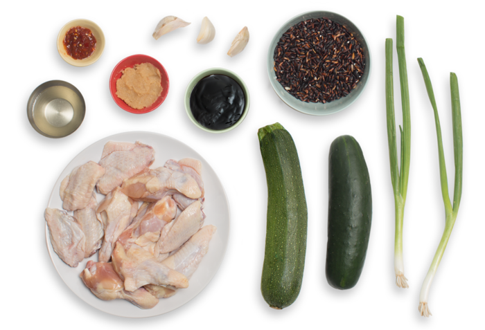 Spicy Miso-Glazed Chicken Wings with Purple Rice & Zucchini Salad ingredients
