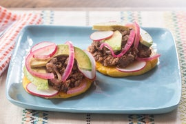 Beef Arepas with Pickled Onion, Avocado & Radishes