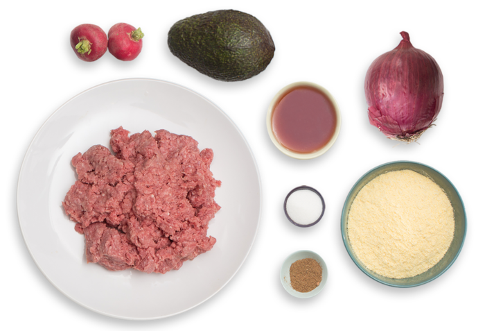 Beef Arepas with Pickled Onion, Avocado & Radishes ingredients