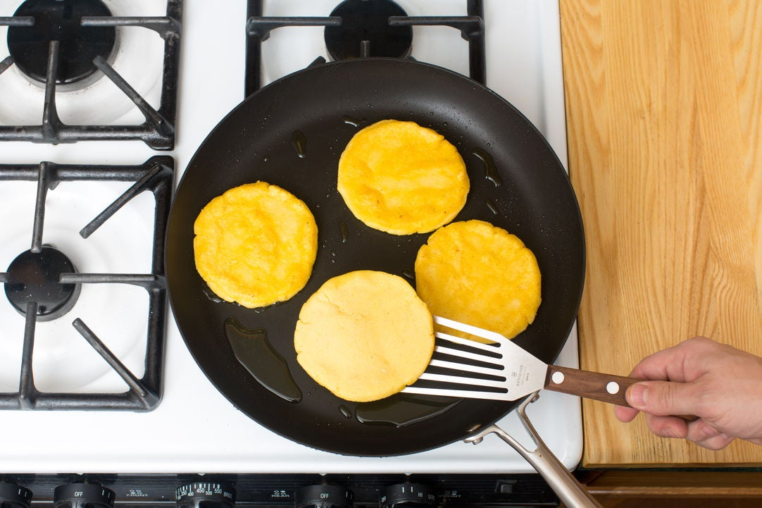 Cook the arepas & plate your dish: